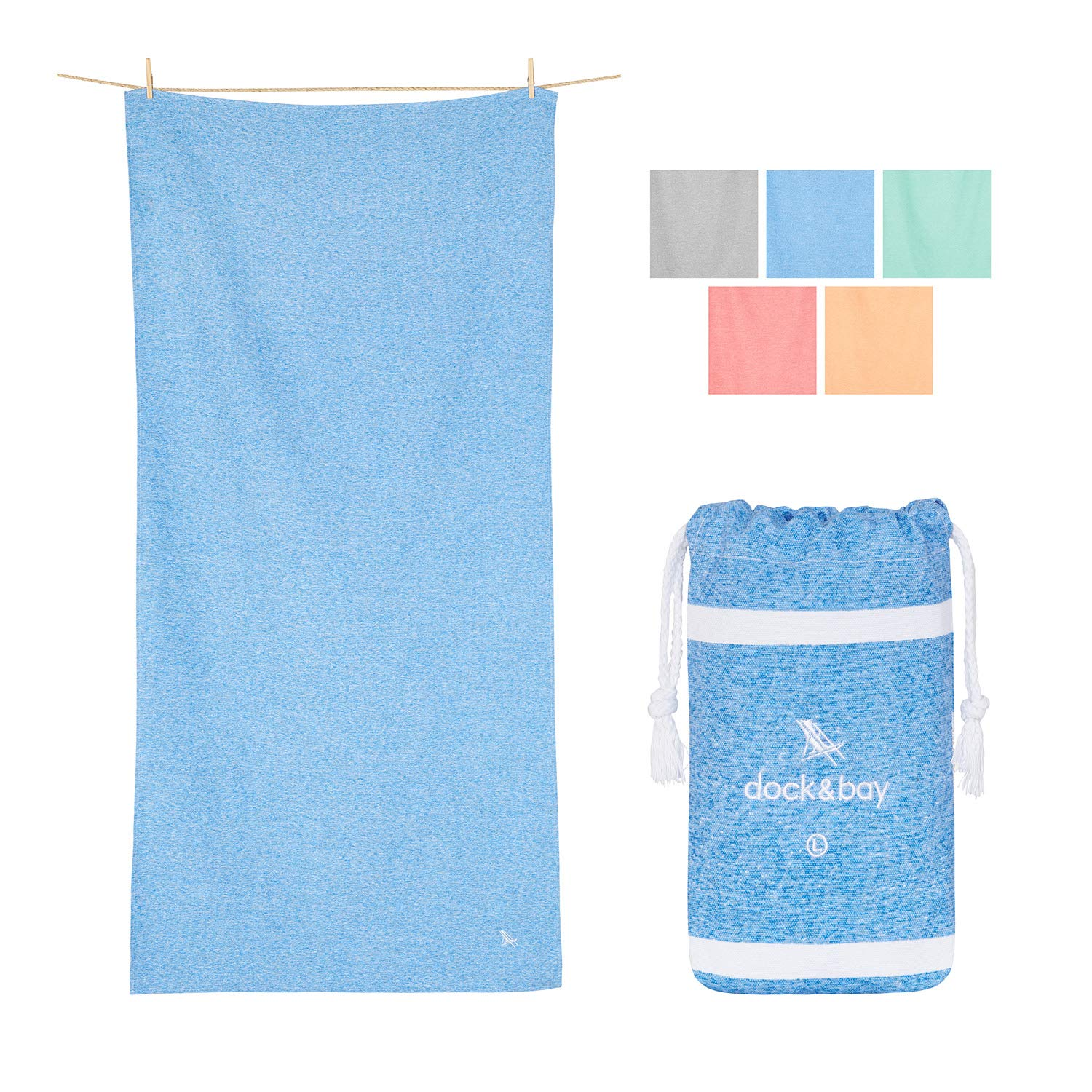 Dock & Bay Large Quick Dry Gym Towel - Lagoon Blue, 63 x 31 - Fitness, Shower & Travel - Gym Shower Towel, Fast Drying
