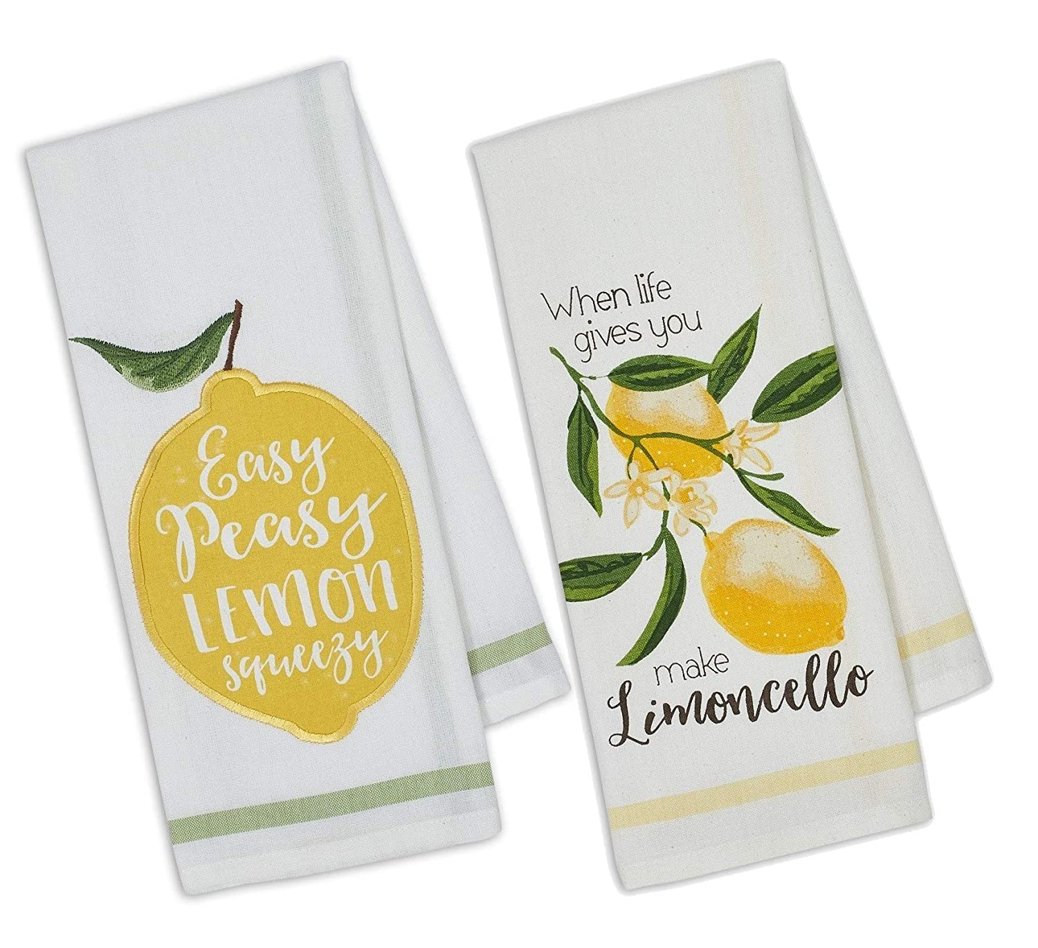 DII Set of 2 Lemon Themed Dishtowels with Petite Stripe