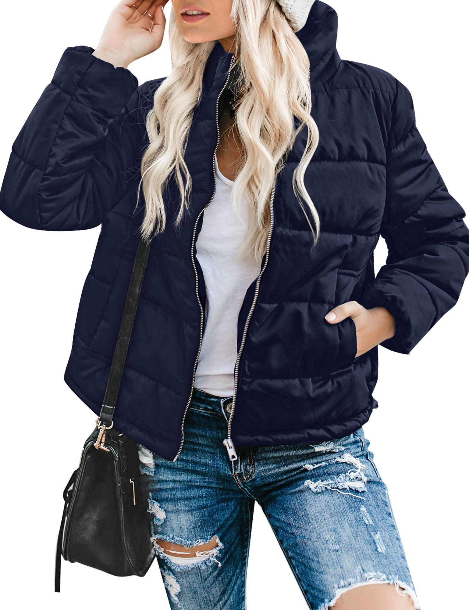 Utyful Women's Zip Up Quilted Lightweight Jacket Padded Puffer Coat Outerwear Navy Blue Size Large by Utyful