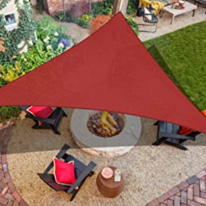 iCOVER Sun Shade Sail Canopy, 185GSM Fabric Permeable Pergolas Top Cover, for Outdoor Patio Lawn Garden Backyard Awning, 12'x12'x12', Terra