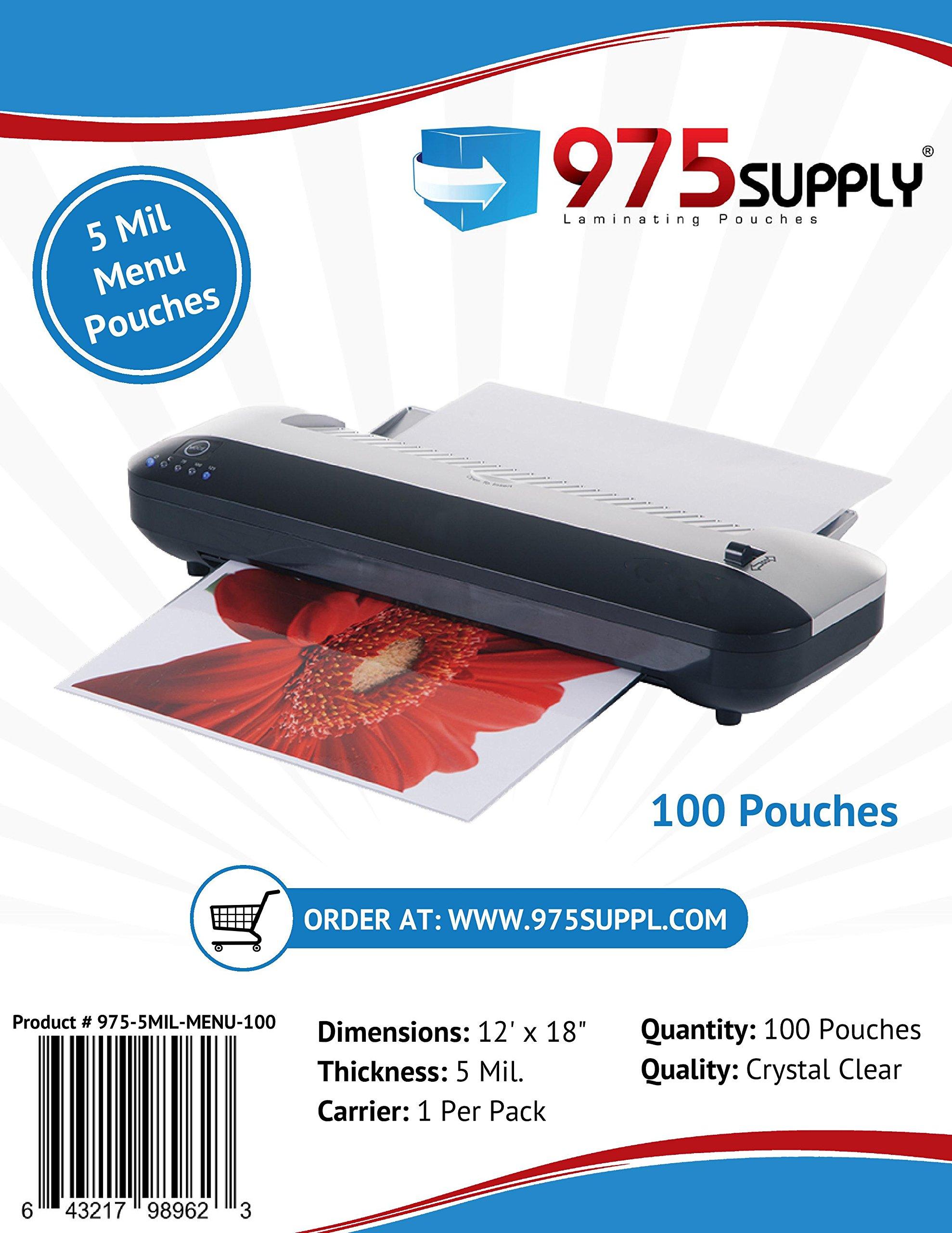 975 Supply 5 Mil Clear Menu Size Thermal Laminating Pouches, 12 X 18 inches, 100 Pouches by 975 Supply