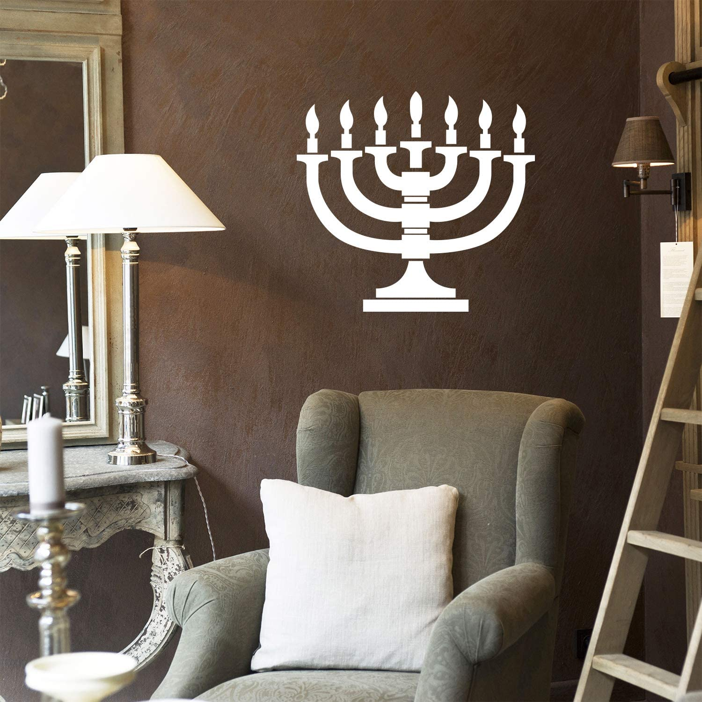 "Vinyl Wall Art Decal - 7 Menorah Candles - 21"" x 23"" - Jewish Holiday Candelabrum Decoration Sticker - Indoor Outdoor Home Office Wall Door Window Bedroom Workplace Decor Decals (21"" x 23"", White)"