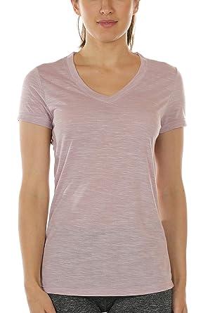 icyzone Damen Sport T-Shirt V-Ausschnitt - Laufshirt Kurzarm Top  Trainingsshirt Fitness Oberteile 795bc0ea41