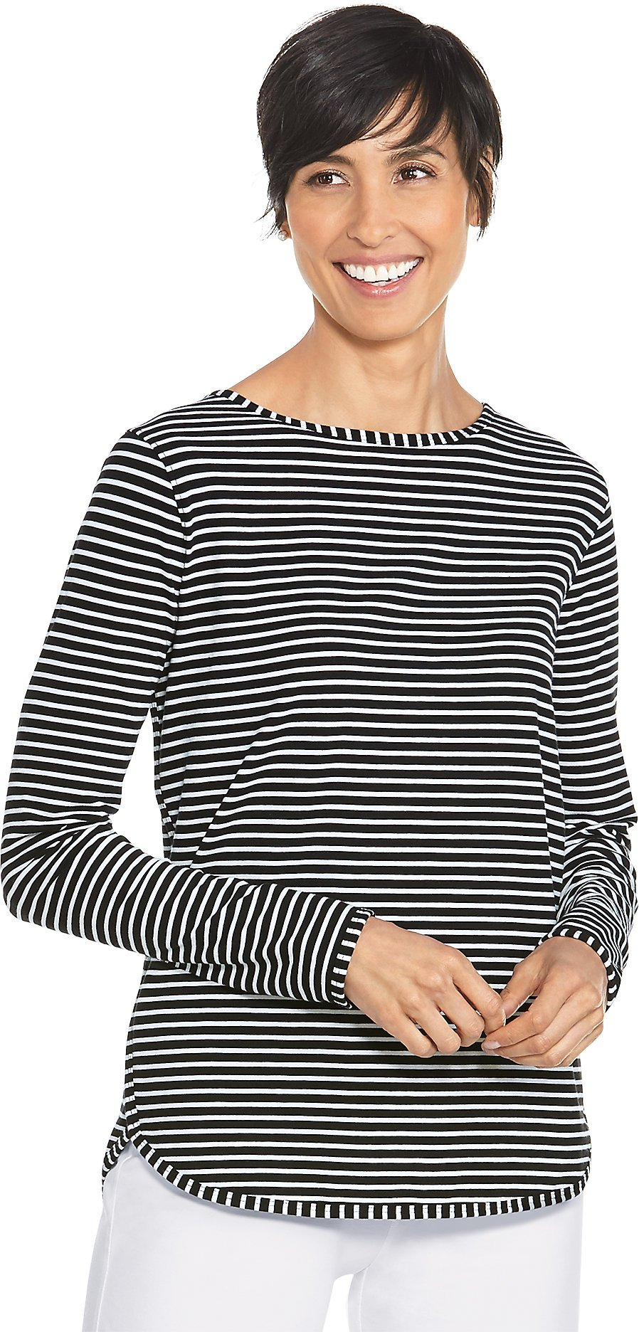 Coolibar UPF 50+ Women's Heyday Side Split Shirt - Sun Protective (X-Large- Fine Black/White Stripe)