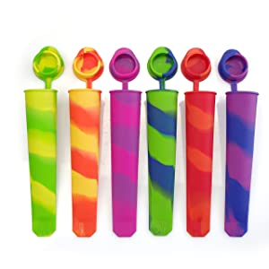 Mirenlife Silicone Ice Pop Molds, Popsicle Maker Molds with Attached Caps, Mixed Color, Set of 6