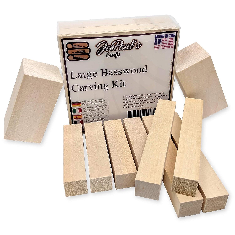 JoePaul's Crafts Gran Tilo talla bloques Kit completo - mejor tallando Kit para niños - tamaños de bloque de madera suave preferido incluidos - Made in USA JoePaul' s Crafts