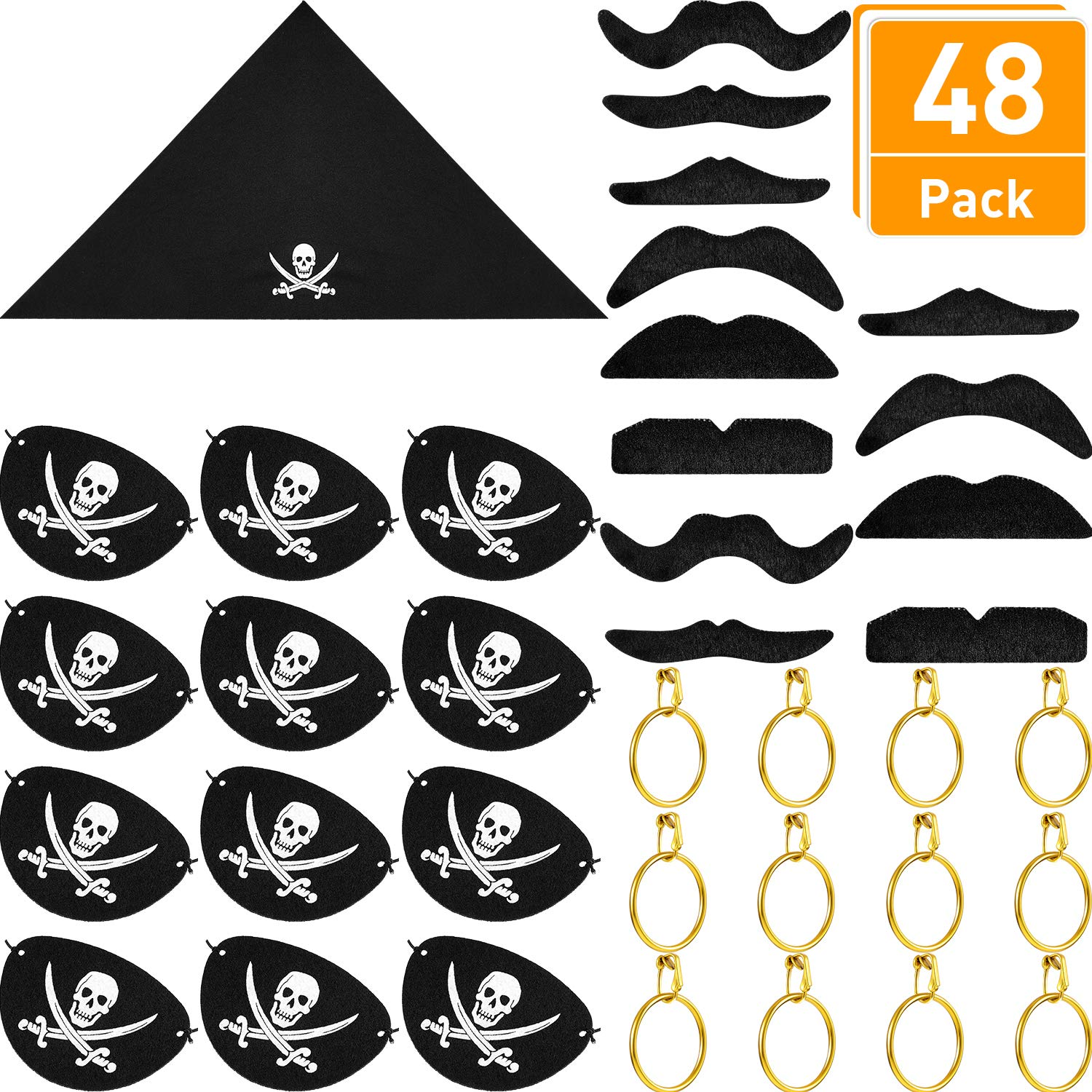 Blulu 48 Pieces Pirate Captain Costume Sets, Felt Pirate Captain Eye Patches, Pirate Bandana, Pirate Gold Earrings, Pirate Fake Moustache for Halloween and Pirate Party