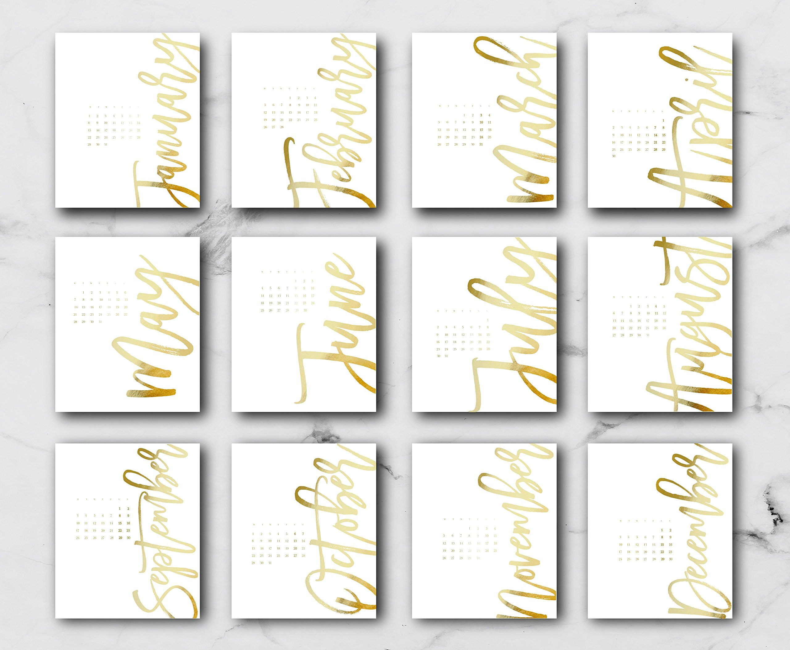 2018 Desktop Vertical Months Calendar, Christmas Gift, 2018 Calendar, Real Gold Foil, Modern Print, Card Stock Paper, Handmade Paper,Minimal