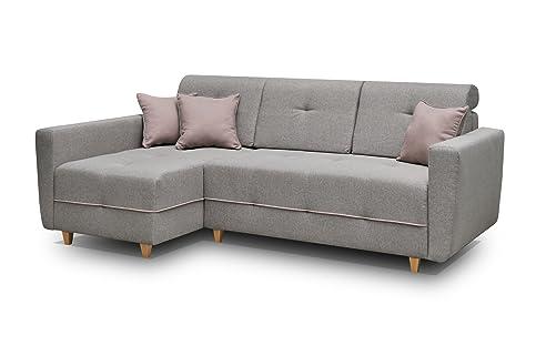 Ecksofa Sofa Eckcouch Couch mit Schlaffunktion und Bettkasten ...