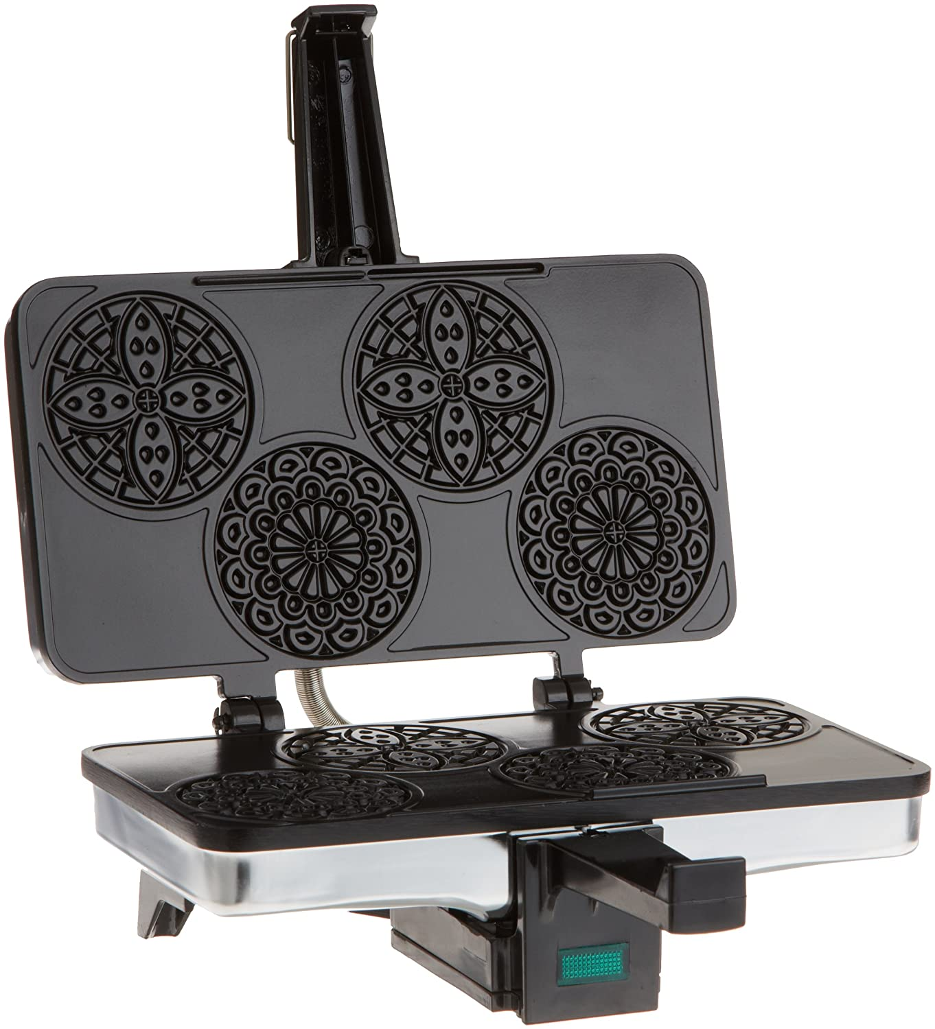 Mini Pizzelle Italian Waffle Iron Maker- Baker Makes Four 3 1/4 Inch Traditional Cookies at Once- Classic Recipes Included CucinaPro 220-03
