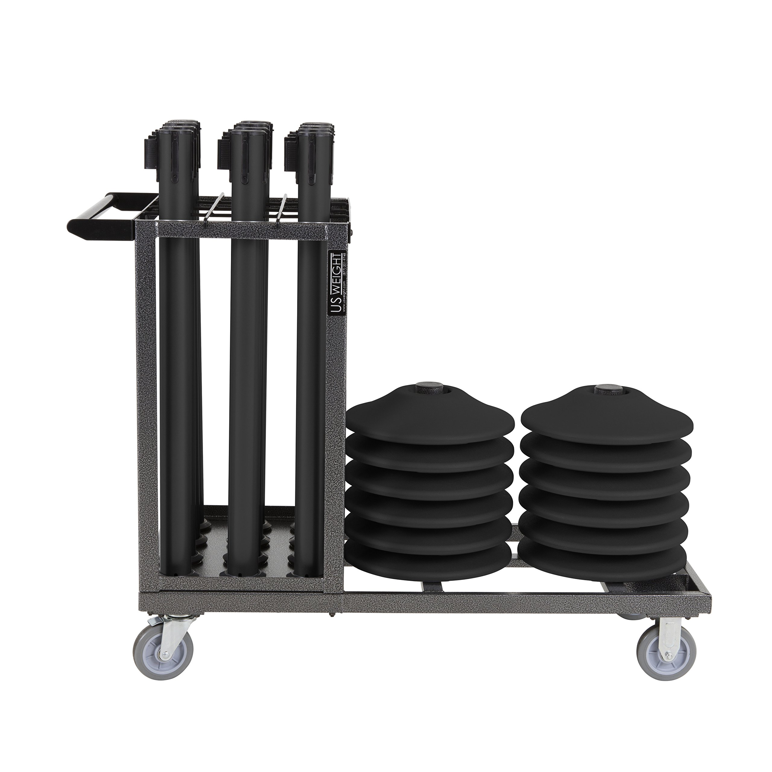 US Weight Statesman Stanchion Cart Kit – 12 Premium Black Steel Stanchions with Cart by US Weight (Image #8)