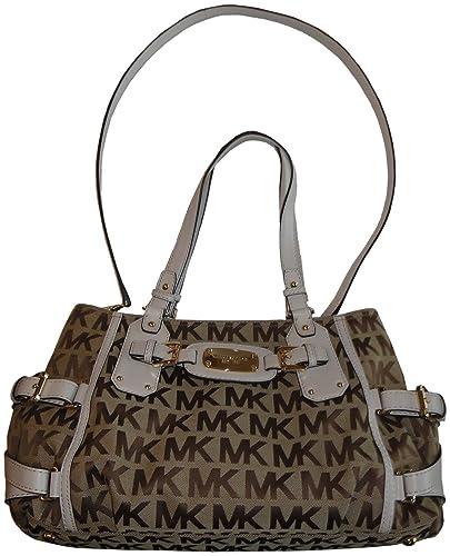 49e8fb77b45a48 Michael Kors Purse Handbag Gansevoort Large Satchel Signature Logo Jacquard  Beige/Ebony/Vanilla: Handbags: Amazon.com