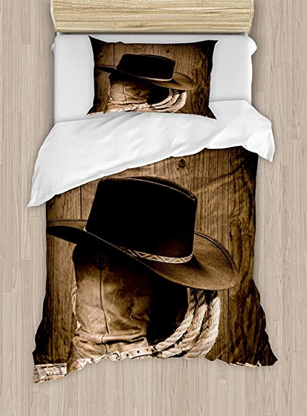 California King Bedding Sets,Western Duvet Cover Set,Wild West Themed Cowboy  Hat And