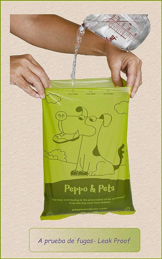 Peppo and Pets- 240 Bolsas biodegradables para excrementos de Perro. (16 Rollos) + (1 dispensador) - Muy Resistentes- Olor a Lavanda- Opacas- A Prueba ...