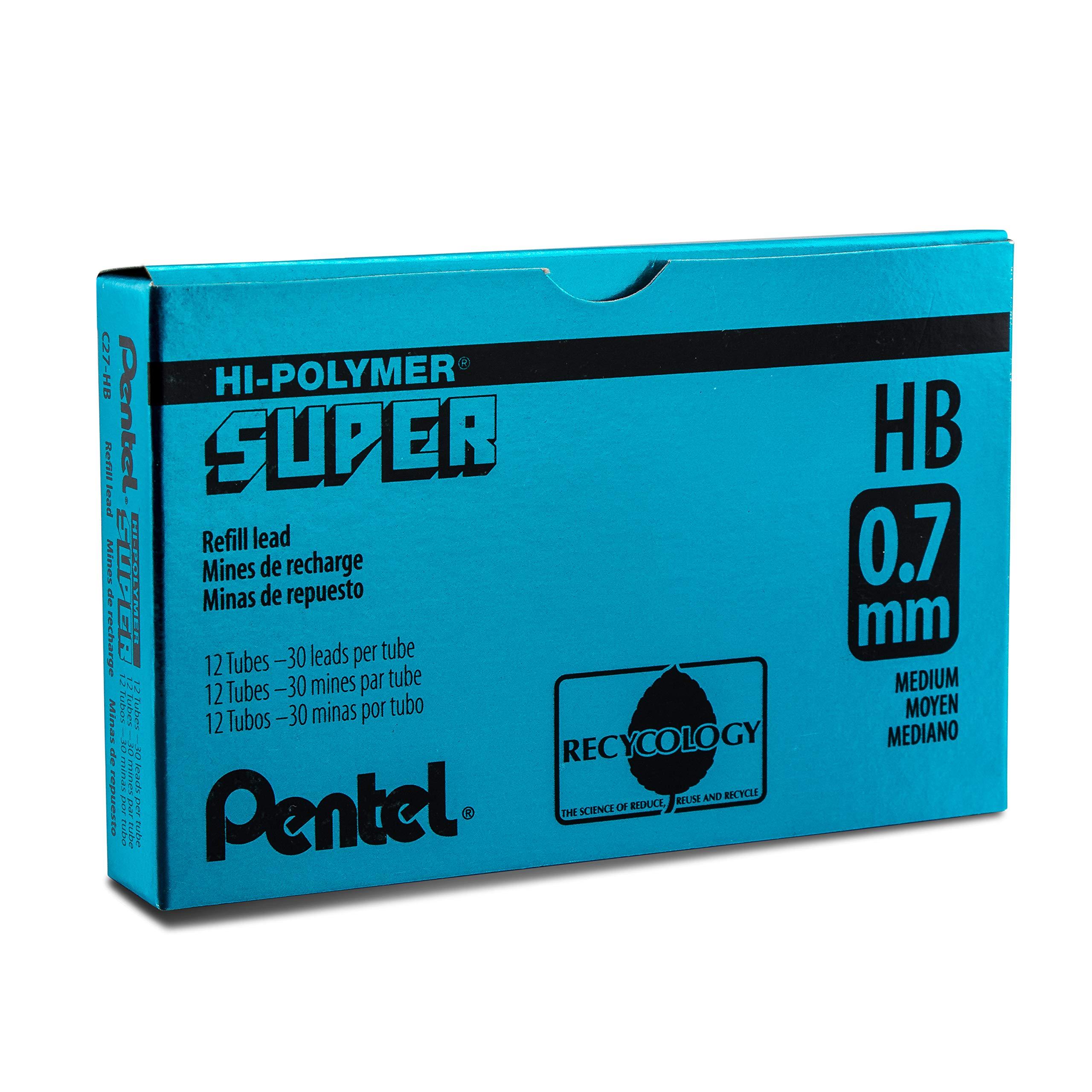 Pentel Super Hi-Polymer Lead Refill, 0.7mm Medium, HB, 360 Pieces of Lead (C27-HB) by Pentel