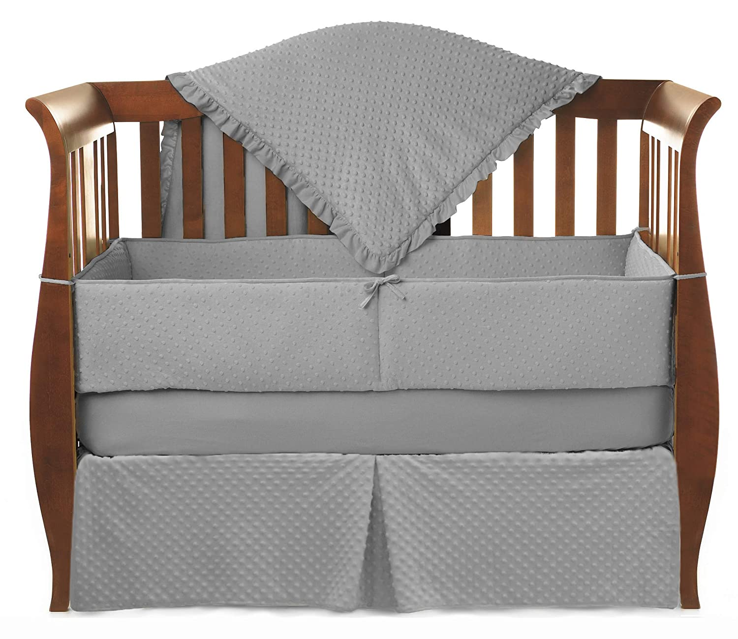 American Baby Company Heavenly Soft Minky Dot 4-Piece Crib Bedding Set, Gray, for Boys and Girls