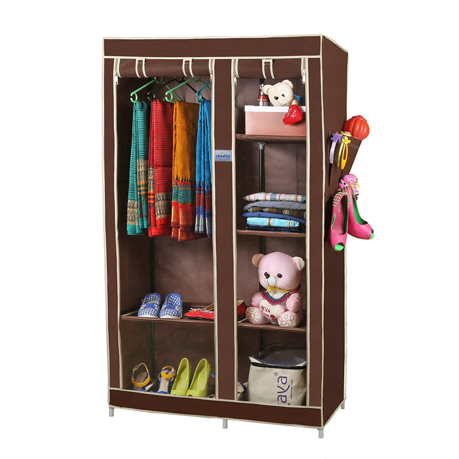 CbeeSo 6 Racks Portable Metal Wardrobe Closet CB260 BR EXTRA OFF