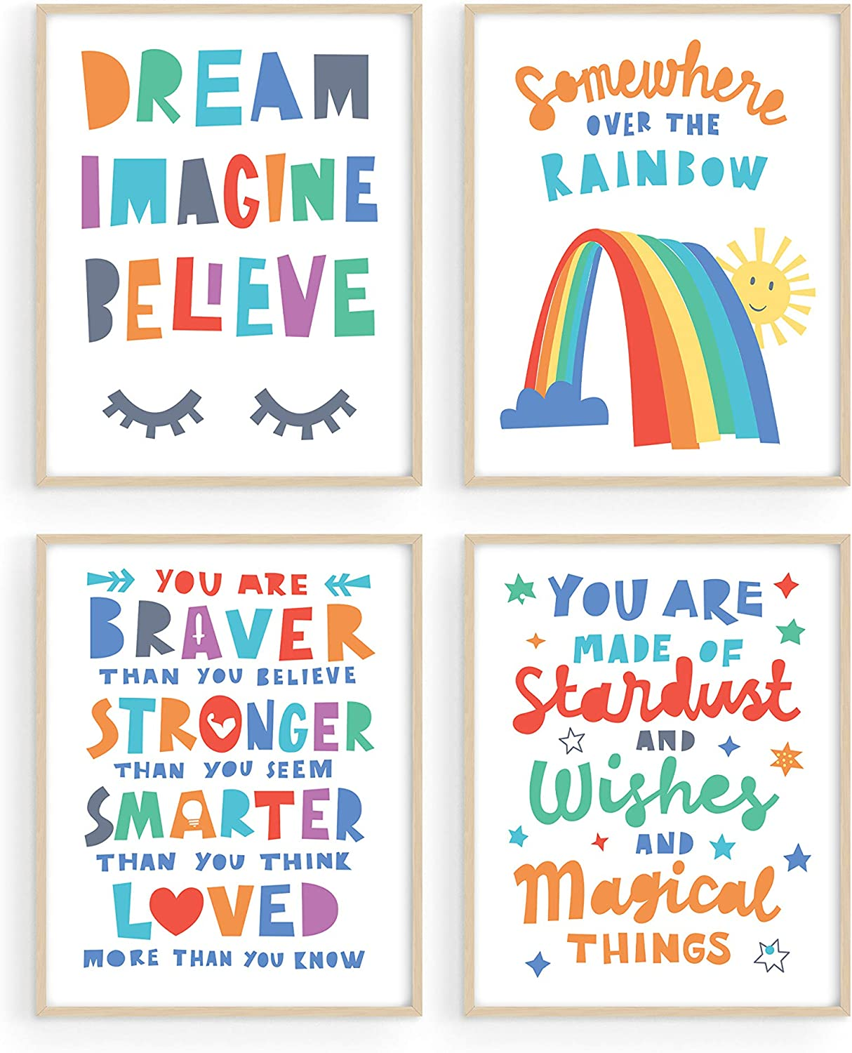 "Inspirational Quotes for Kids Wall Decor - By Haus and Hues | Set of 4 Kids Inspirational Wall Art & Playroom Wall Decor | Nursery Quotes Kids Room Wall Decor | Unframed, 8"" x 10"""