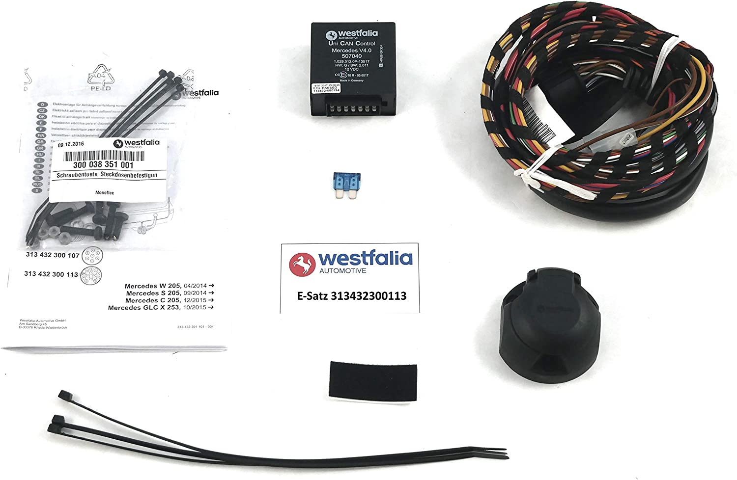 W205//S205 10//15-06//18 C205//A205 X253 C-Class Coupe//Cabrio GLC Westfalia-Automotive 313432300113 Wiring Kit 13-Pin and Vehicle-Specific for Mercedes Saloon Year 09//15-06//18 BJ 03//14-06//18