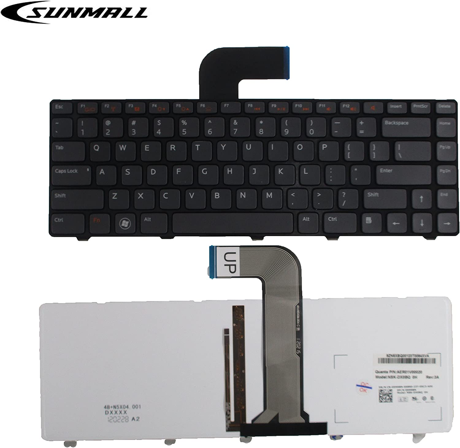 SUNMALL Keyboard Replacement with (Backlit and Frame) Compatible with Dell Inspiron 14R N4110 N4120 M4110 N4050 N5040 N5050 M5040 M5050, VOSTRO 1440 1445 1450 1550 2420 2520 3350 3450 3460
