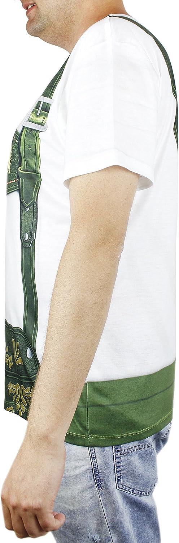 Faux Real Oktoberfest T-Shirt for Men Lederhosen Hairy Chest Design Adult Size