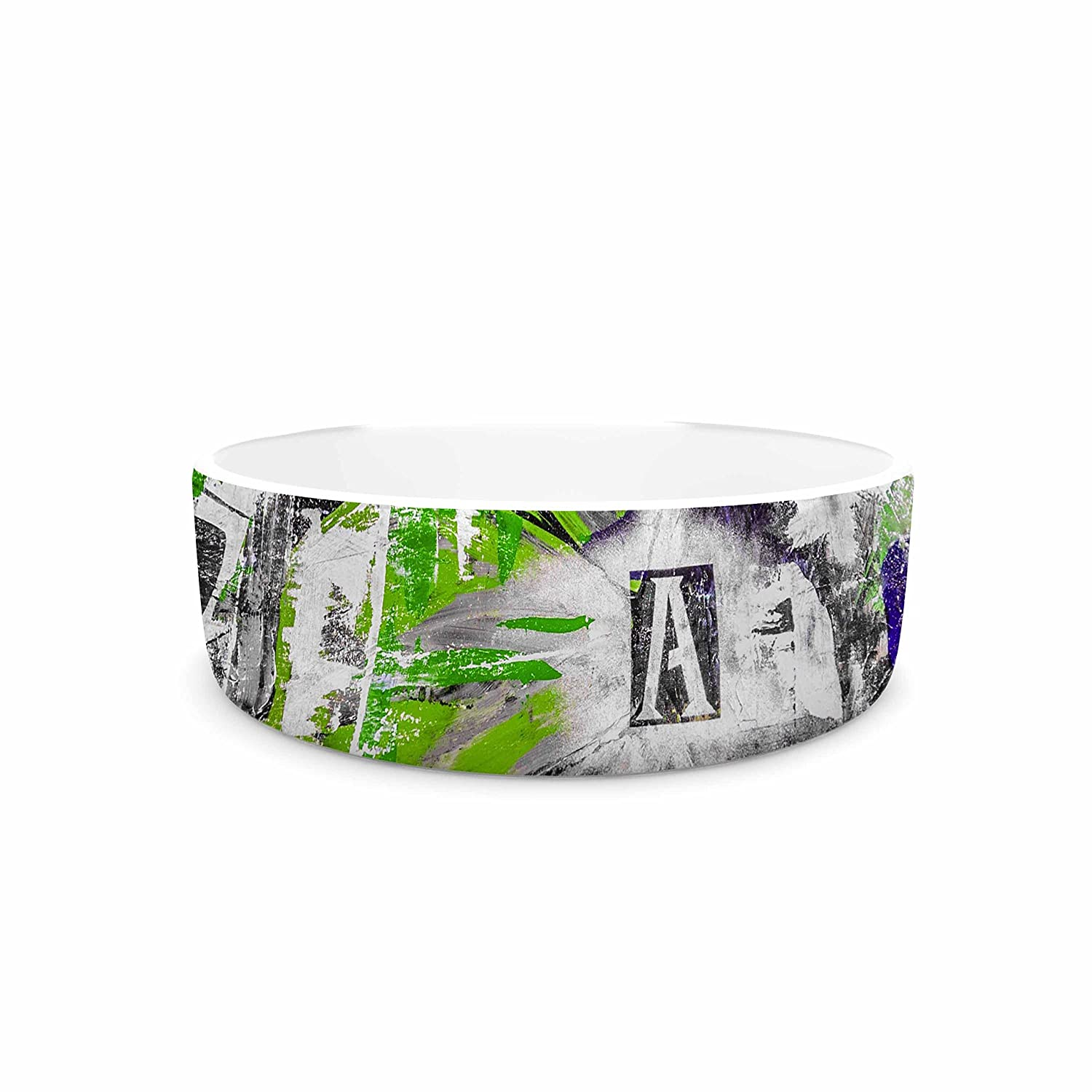 7\ KESS InHouse Bruce Stanfield Life through Adversity 2  Green Abstract Pet Bowl, 7