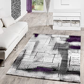 Designer Teppich Olympia Meliert Schattiert Geometrische Muster Lila ...