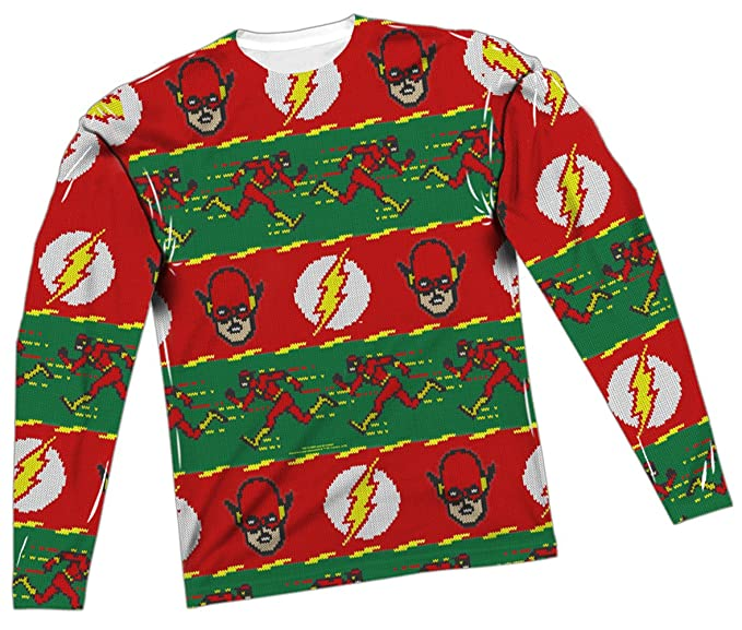 Amazoncom Ugly Christmas Sweater The Flash All Over Long Sleeve