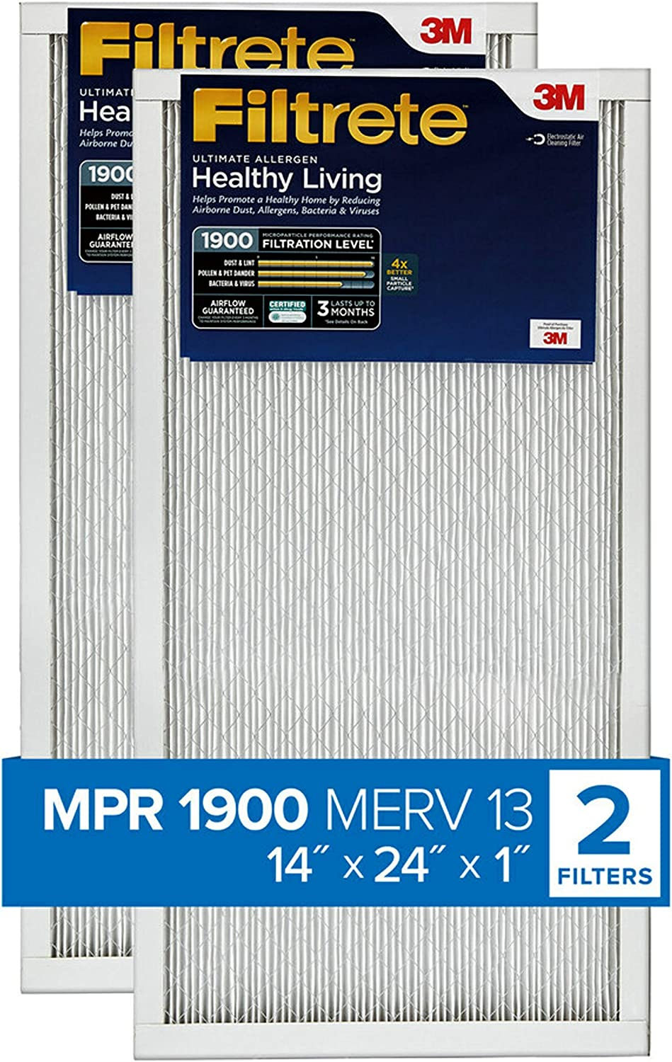 Nordic Pure 14x24x1 MPR 1900 Healthy Living Maximum Allergen Reduction Replacement AC Furnace Air Filters 4 Pack