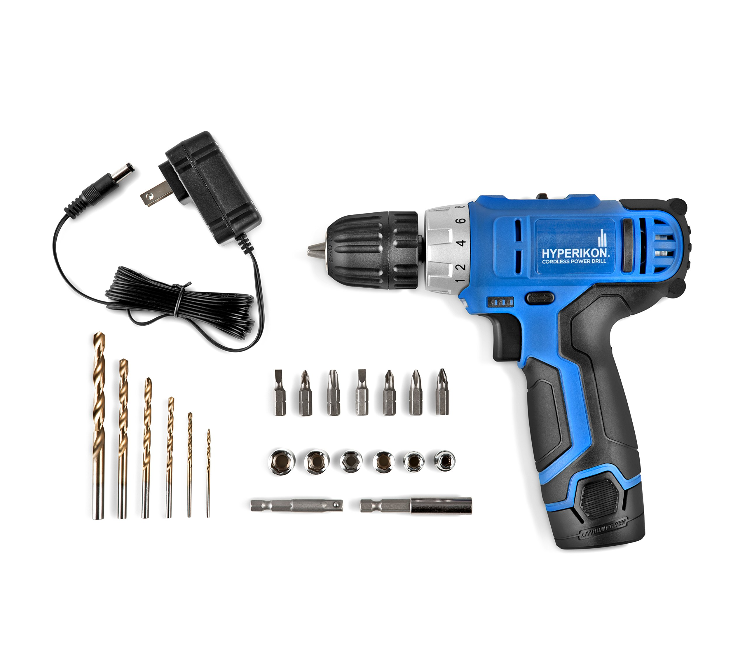 Hyperikon Electric Power Drill Lithium 12V with Driver Set and Project Kit, 3/8 Keyless Chuck Small Cordless Drill by Hyperikon