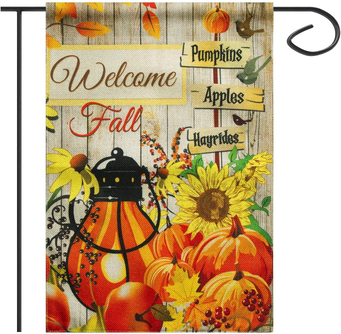Fall Garden Flag Halloween Welcome 12 x 18 Inch Double Sided Burlap Pumpkins Hayrides, Autumn Halloween Flags Outdoors Decorative for Home Garden Yard