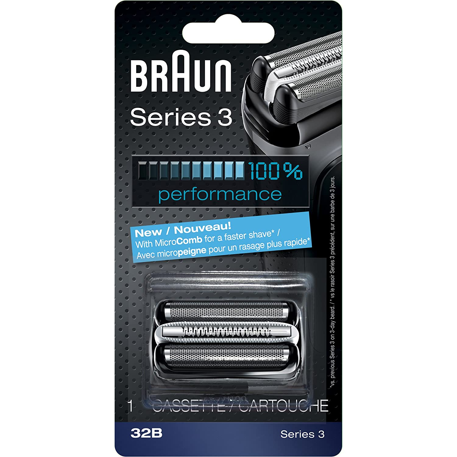 Braun Series 3 32B Foil & Cutter Replacement Head, Compatible with Models 300s, 310s, 320s, 340s, 350cc, 380s, 390cc, 3010s, 3040s, 3050cc