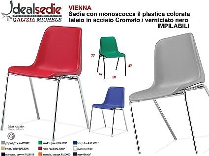 Sedia Da Ufficio Poltrona Fissa per Sala Attesa sedia con monoscocca in plastica colorata con telaio in metallo cromato sedia impilabile sedia per