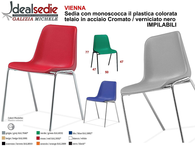 nero Sedia Da Ufficio Poltrona Fissa per Sala Attesa sedia con monoscocca in plastica colorata con telaio in metallo cromato sedia impilabile sedia per conferenza Nero