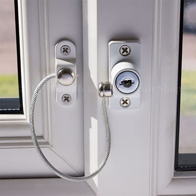 JCP Window and Door Safety Restrictor Cable Lock for Baby and Child Security 1 Pack White