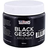 U.S. Art Supply Black Gesso Acrylic Medium, 500ml Tub - 16.9 Ounces over a Pint