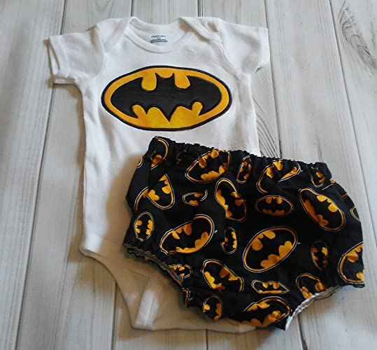 8084f8eb Image Unavailable. Image not available for. Color: Baby Boys Batman Super  Hero White Onesie & Diaper Cover ...