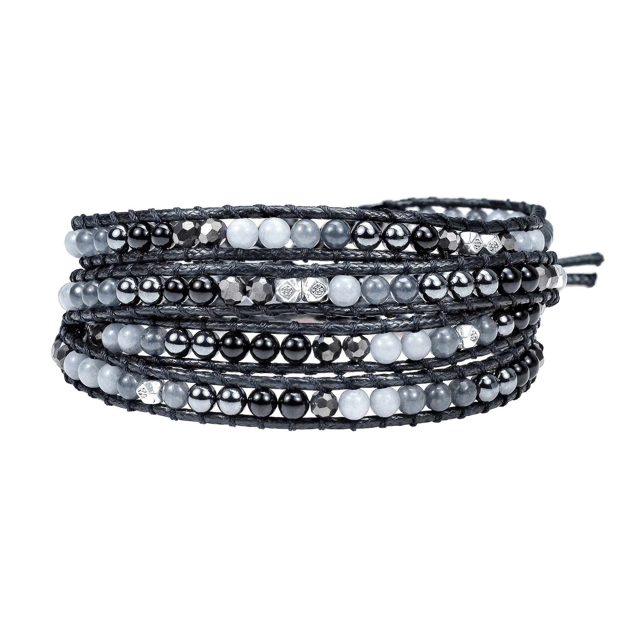AeraVida Infinite Harmony Shades of Gray and Fashion Crystal Wrap Bracelet