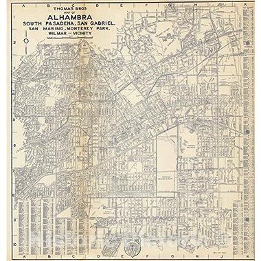 Historic Map   1938 Thomas Bros. Map of Alhambra, South Pasadena, San Gabriel, San Marino, Monterey Park, Wilmar - Vicinity, California.   Vintage Wall Art   44in x 44in