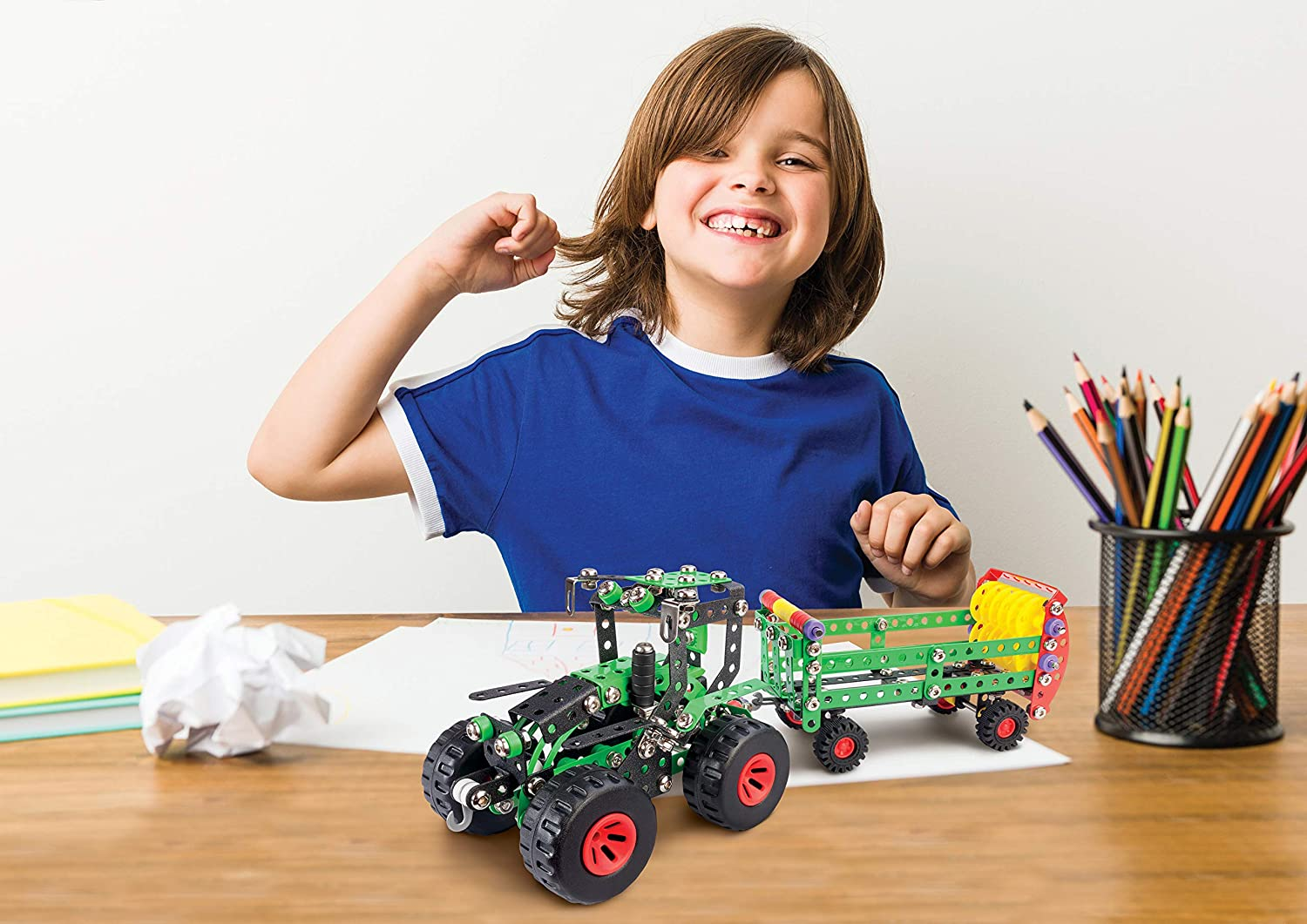 Alexander Toys Constructor Fred /& Stinky Tractor /& Manure Spreader Pure Metal Construction Model Building Kits Fully Compatible with Erector and All Other Metal Construction Sets and STEM Toys