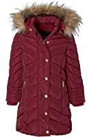 Sportoli Girls' Long Fleece Lined Heavy Quilt Puffer Coat with Deteachable Fur Trimmed Hood