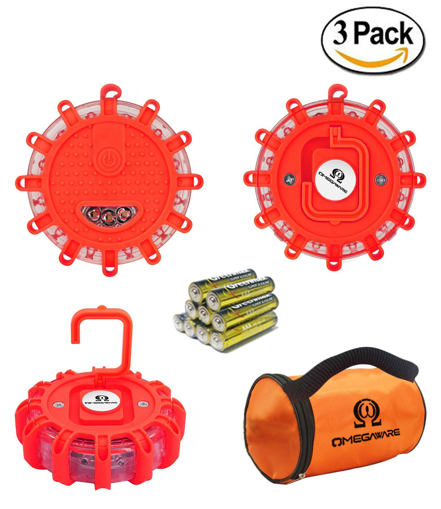 Best rated in industrial warning lights helpful customer reviews led road flares omegaware emergency roadside safety disc marine flashing light beacon for car truck boat with storage bag and batteries red pack of 3 biocorpaavc