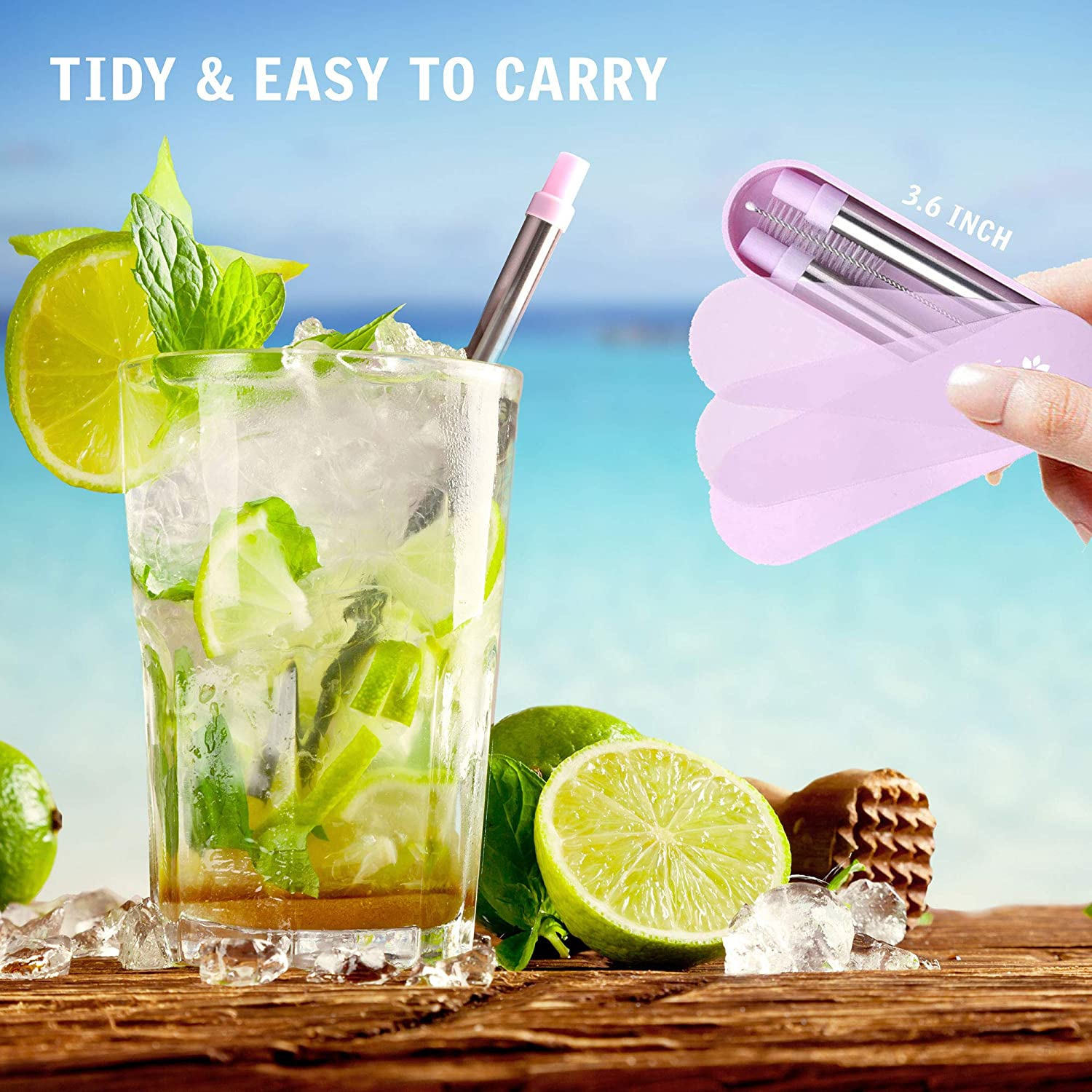2 Pack Kaitse Stainless Steel Drinking Straws Portable Collapsible Straw with Case and Cleaning Brush Pink-Blue Reusable Straws Telescopic Metal Travel Straws