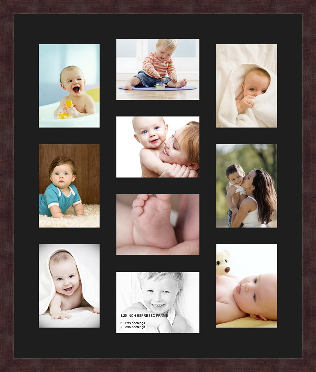 Art to Frames Double-Multimat-1024-47R//89-FRBW26061 Collage Frame Photo Mat Double Mat with 10-6x8 Openings and Espresso Frame