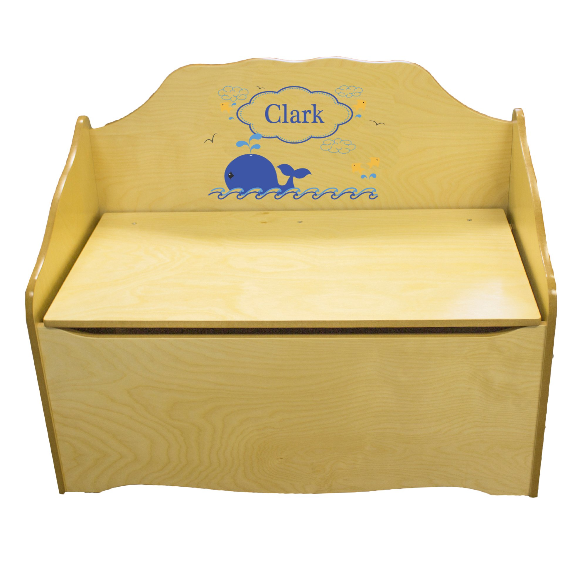 Personalized Blue Whale Childrens Natural Wooden Toy Chest