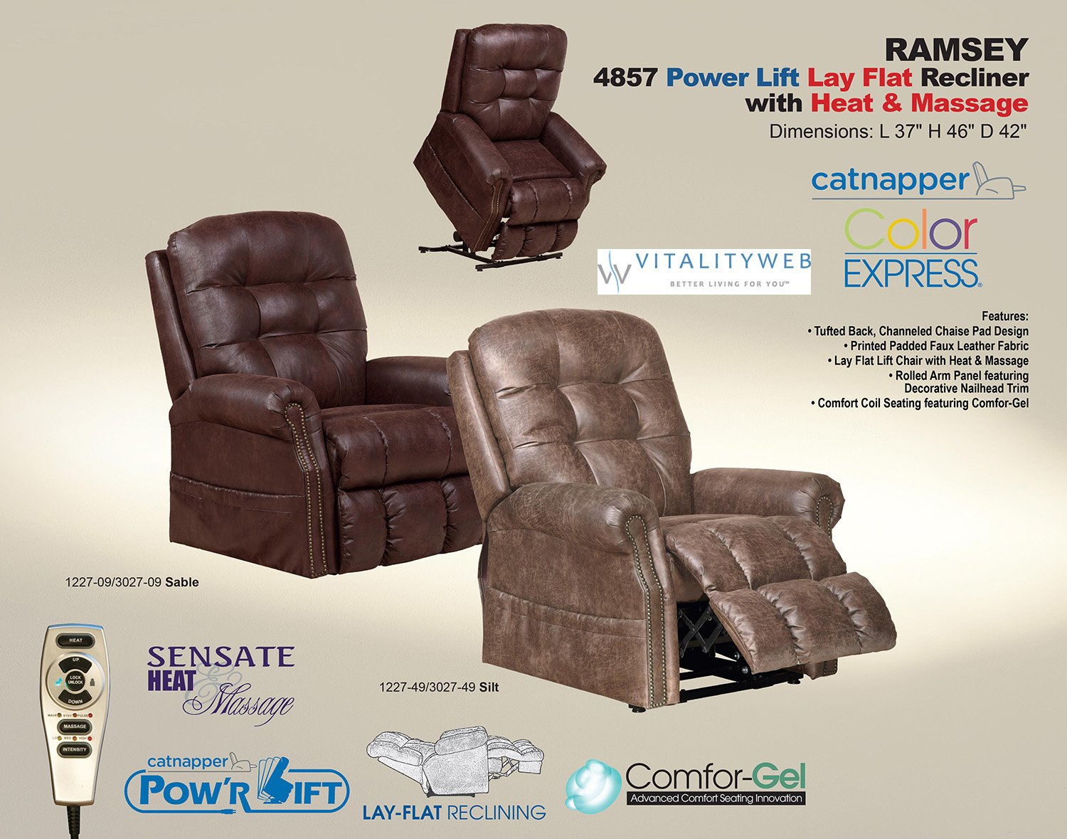 Amazon.com Catnapper Ramsey 4857 Power Full Lay Flat Lift Chair Recliner with Heat and Massage - Easy Care Faux Leather Vinyl - Silt Kitchen u0026 Dining & Amazon.com: Catnapper Ramsey 4857 Power Full Lay Flat Lift Chair ... islam-shia.org