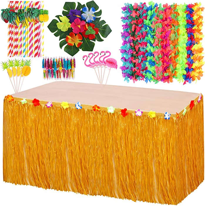 Elcoho Hawaiian Party Decorations Set Luau Grass Table Skirt with Hawaiian Garlands 3D Paper Straws Hawaiian Flowers and Palm Leaves for Luau Party Decorations