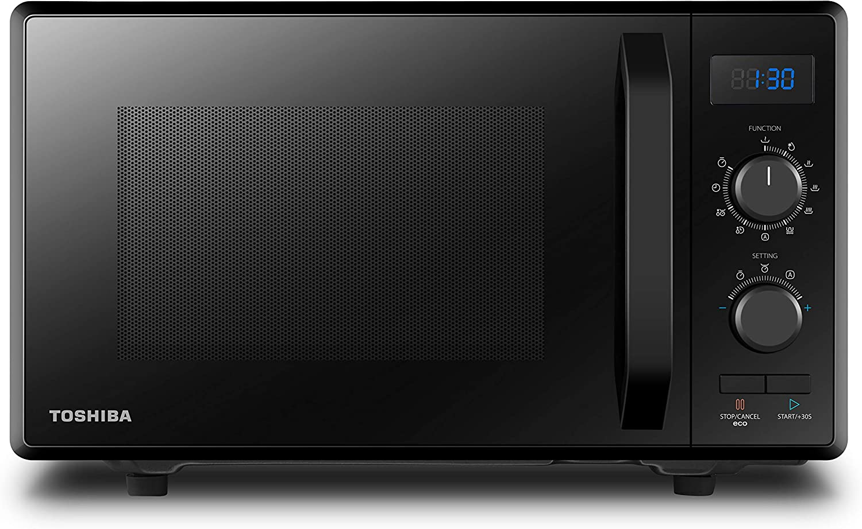 Toshiba MW2-AG23PF(BK) Microondas 3 en 1 con grill & función combinada, 23 L, 900 W, parrilla de 1000 W, función ECO, plato giratorio con memoria de posición, color negro