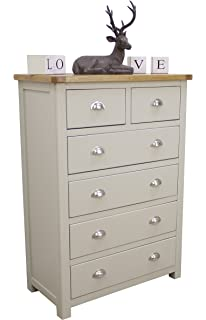 Aspen Painted Oak Sage / Grey Chest Of Drawers / 2 Over 4 Storage Chest /