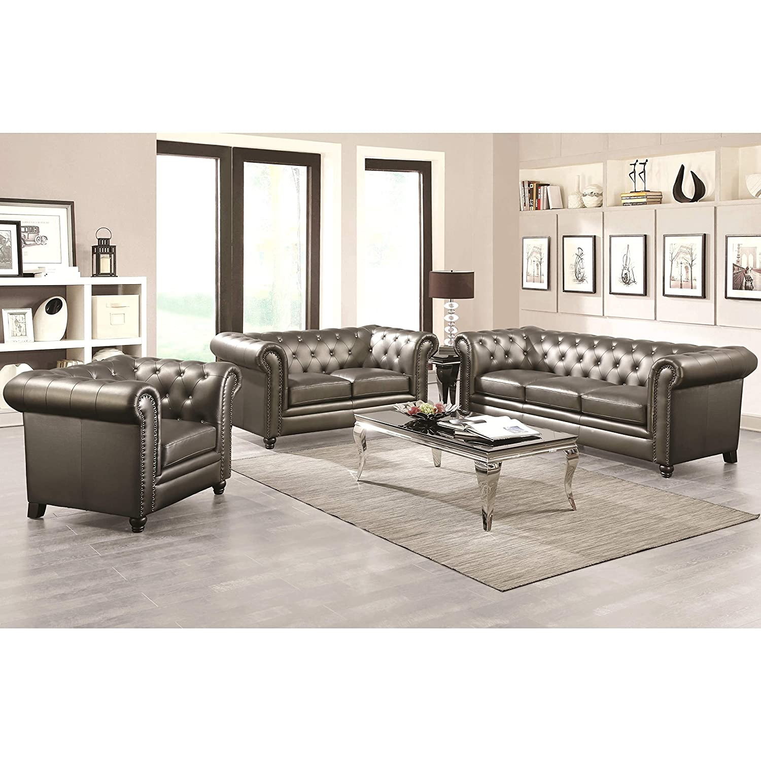 Amazon com a line furniture royal mid century living room collection with crystal button tufting design and nailhead trim grey 1 sofa 1 loveseat 1 chair